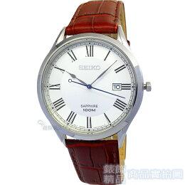 SEIKO 精工 手錶 羅馬 藍寶水晶 日期皮帶