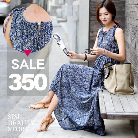 SISI【D6086】波西米亞沙灘長裙無袖碎花縮腰顯瘦雪紡連身長裙洋裝