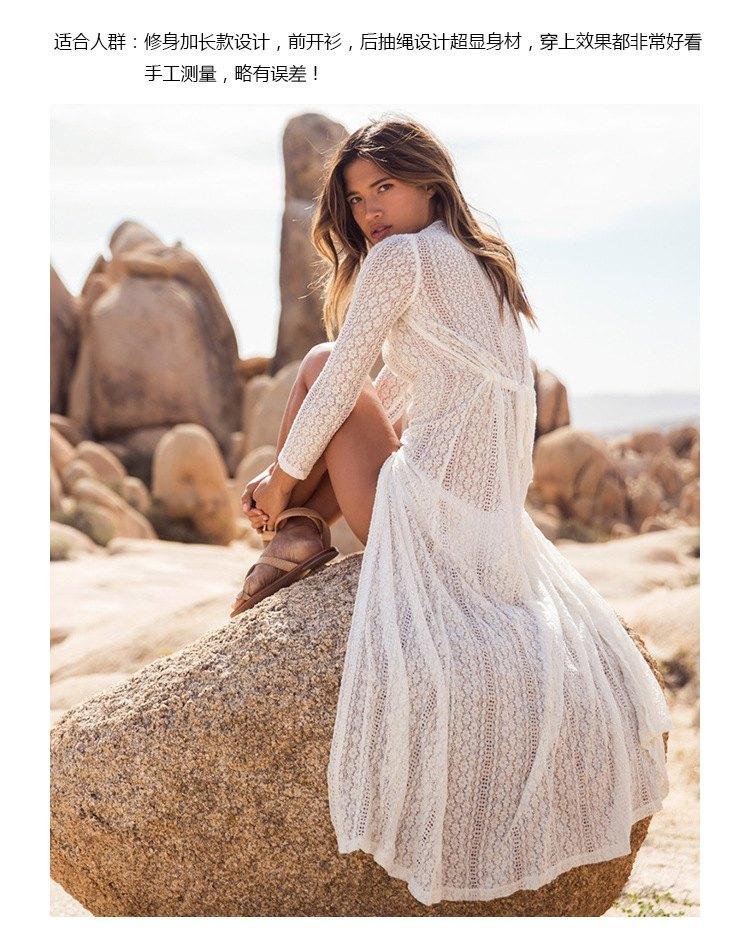 罩衫 蕾絲 緹花 長裙 開襟 長袖 沙灘 比基尼 罩衫【ZS199】 BOBI  04 / 26 6