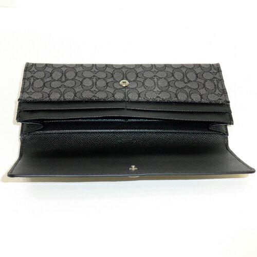 COACH 52575黑灰織布logo輕便長夾 2