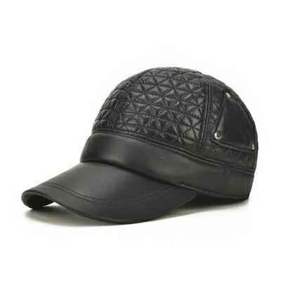 鴨舌帽真皮棒球帽-三角縫線羊皮護耳男帽子73rq19【獨家進口】【米蘭精品】