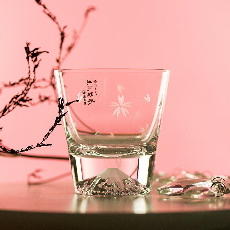 【買二入 輸入序號:SSthanks100 再折$100】下殺六折|日式 田島窯富士山酒杯/飲料杯 木盒禮盒款EDO GLASS| 質感玻璃杯|和風飲器|富士山|免運