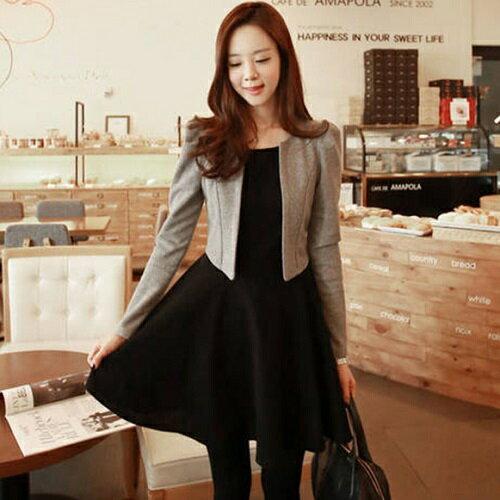 兩件組!韓版時尚顯瘦收腰長袖連身裙子+小外套 (2款式S~XXL) - ORead 自由風格 - 限時優惠好康折扣