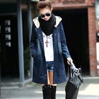 牛仔/丹寧服飾到秋冬中長款帶帽加絨加厚牛仔外套 (圖片色,S~XXL) - ORead 自由風格