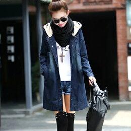 秋冬中長款帶帽加絨加厚牛仔外套