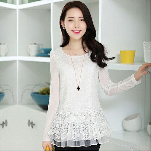 韓版中長款甜美修身蕾絲衫 (4色,M~XXL) - ORead 自由風格