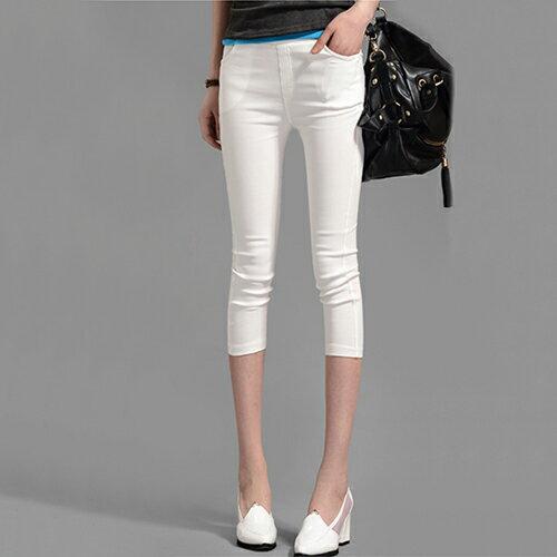 休閒褲七分褲鉛筆褲 (5色,S~XXL) - ORead 自由風格