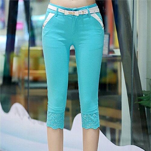 [零碼現貨出清] 韓版蕾絲拼接七分褲 (4色,S~2XL) (皮帶是贈品隨機出貨) - ORead 自由風格