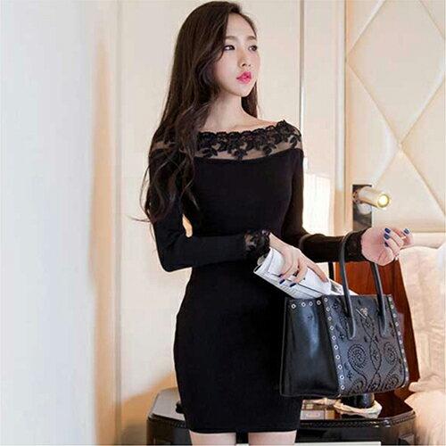 蕾絲一字領針織彈力包臀連身裙 (黑色,S~L) 【OREAD】 - 限時優惠好康折扣