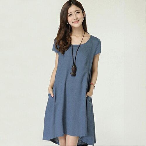 《 任選2件_一件299》韓版寬鬆亞麻連身裙棉麻裙子 (4色,S~XL) - ORead 自由風格