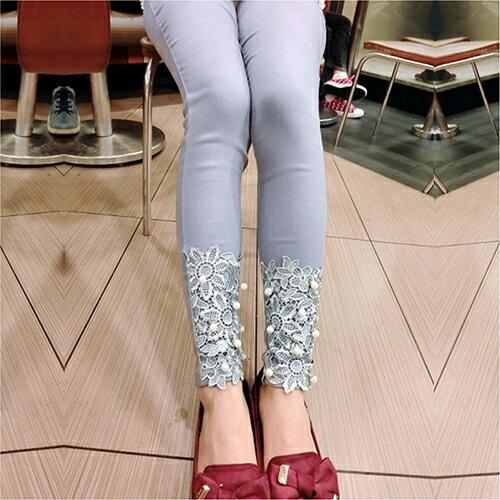 花邊蕾絲釘珠褲鉛筆褲 (4色,S~XL) 【OREAD】 1