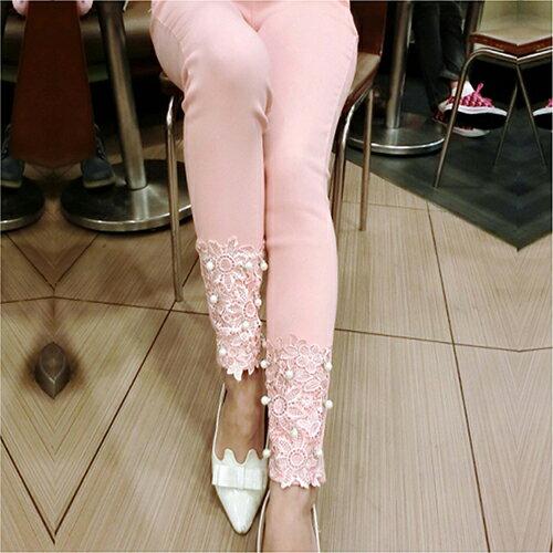 花邊蕾絲釘珠褲鉛筆褲 (4色,S~XL) 【OREAD】 0