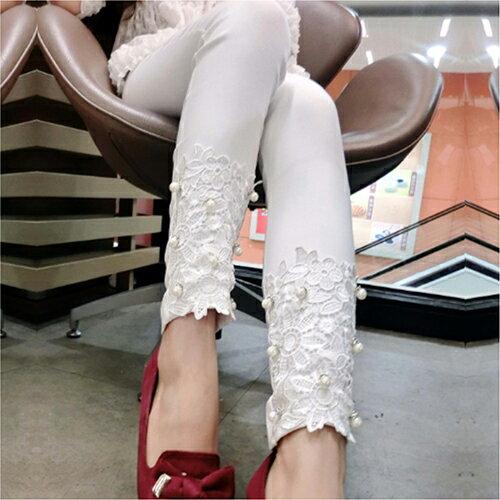 花邊蕾絲釘珠褲鉛筆褲 (4色,S~XL) 【OREAD】 2