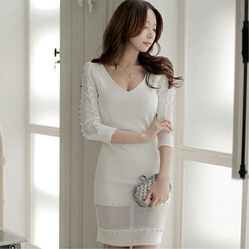現貨 性感V領鑲珠網紗拼接收腰連身裙 (2色,S~XL) 【OREAD】 0