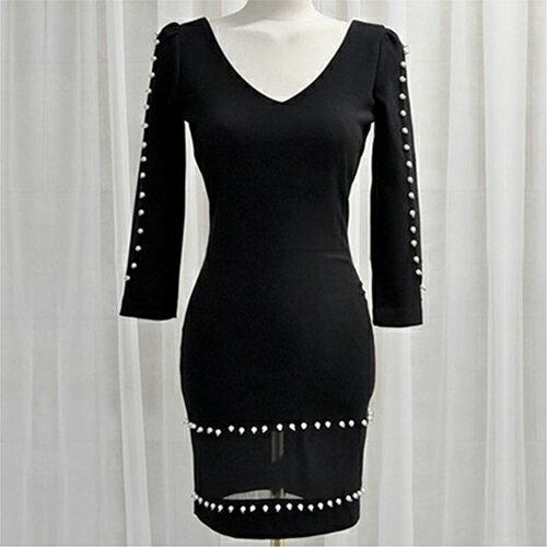現貨 性感V領鑲珠網紗拼接收腰連身裙 (2色,S~XL) 【OREAD】 1