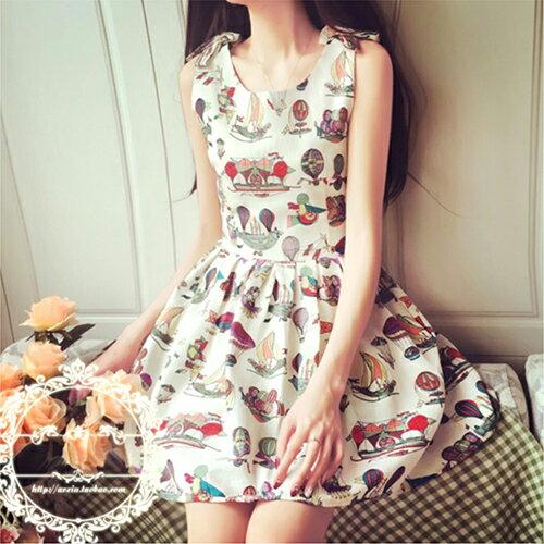 立體蝴蝶結抽象圖案復古顯瘦連身裙 (2色,S~XXL) 【OREAD】 1