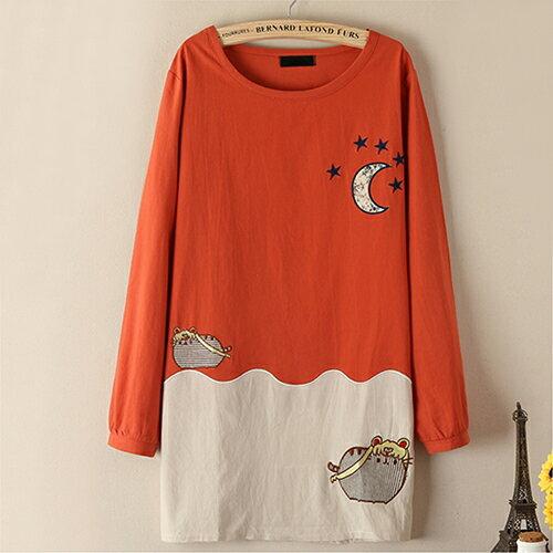 森系日系可愛貓咪月亮刺繡棉麻長袖T恤(3色,均碼)-ORead自由風格