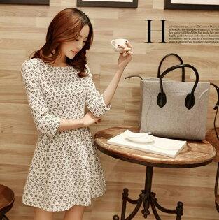 《 任選2件_一件299》圓領中腰七分袖連身裙 (2色,5碼) - ORead 自由風格