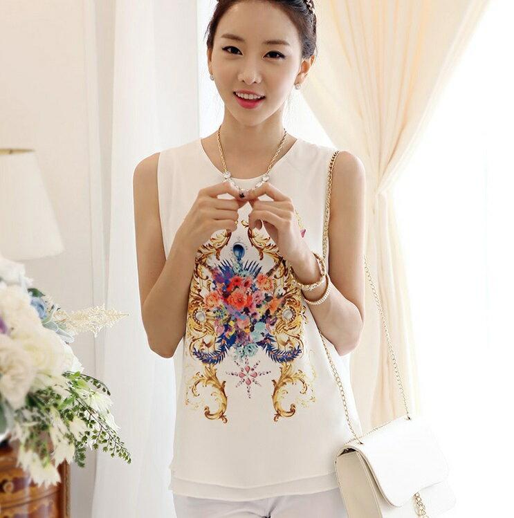 印花雪紡衫無袖印花背心  白色,5碼  ~ ORead 自由風格