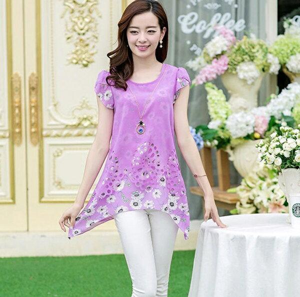 清涼短袖寬鬆印花雪紡上衣(4色,M~3XL)-ORead自由風格