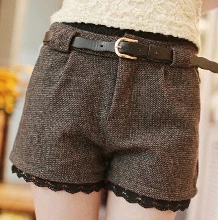 [零碼現貨出清] 時尚百搭休閒修身蕾絲格子短褲 (2色,S~XXL) - ORead 自由風格
