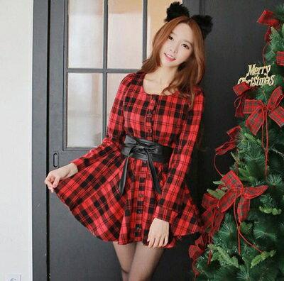 顯瘦甜美修身收腰氣質格子連身裙送腰帶(2色,S~L)-ORead自由風格