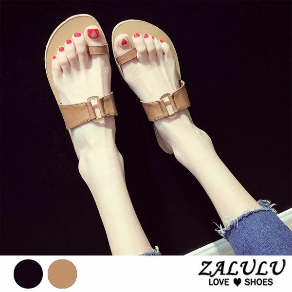 ZALULU愛鞋館7DE206預購簡約款平底一字帶拖鞋-黑淺棕-35-39