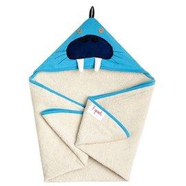 【淘氣寶寶】加拿大 3 Sprouts 連帽浴巾-小海象【可當作被毯、包巾或浴巾,一巾三用】【保證公司貨】