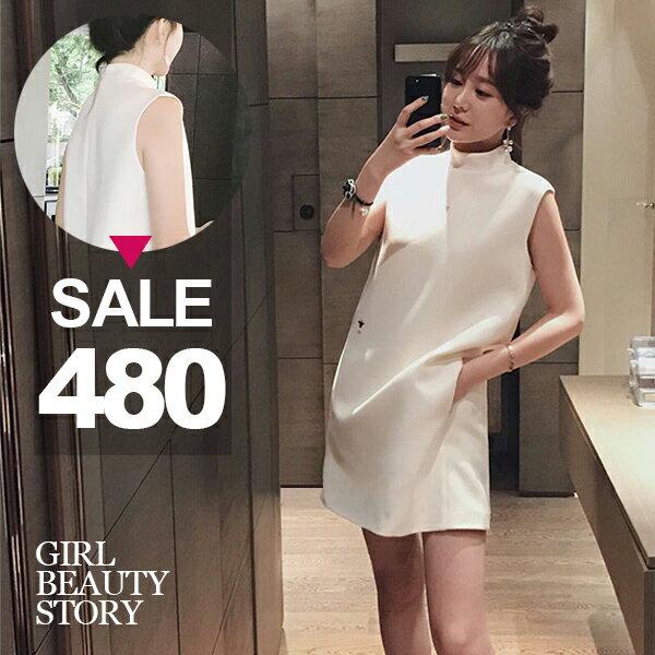 SISI【D8030】清新氣質可愛立領小蜜蜂刺繡寬鬆直筒無袖背心連身裙小洋裝