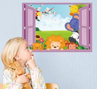 WallFree 窩自在★DIY無痕壁貼/牆貼-假窗卡通動物-SK7019D