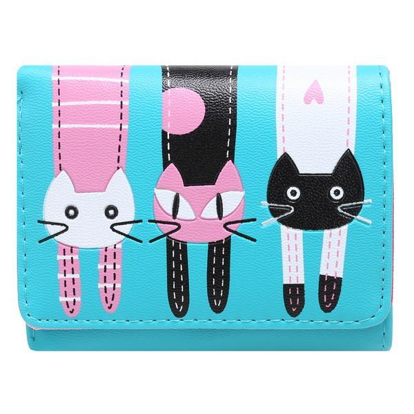 Cartoon Lovely Cat Pattern Trifold Wallet Short Coin Purse Card Holder 0