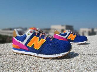 《5折出清》[22.5cm=實際鞋內23.5cm] Shoestw【KL574T5G】NEW BALANCE 復古慢跑鞋 寶藍 民族圖騰 大童鞋 NB574 女生可穿