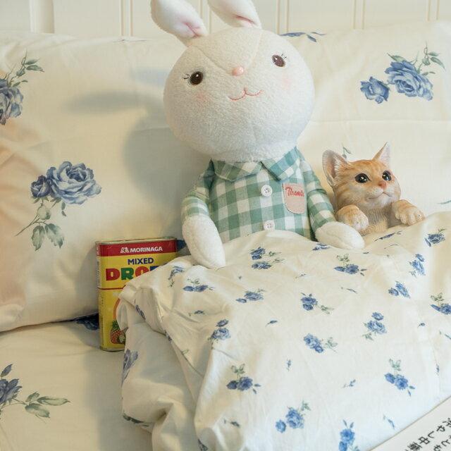 藍莓花園  雙人加大鋪棉床裙三件組 100%精梳棉 台灣製 2