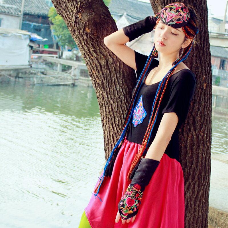 民族風女裝配飾套筒扣指手套刺繡花中國風保暖手套花制作原創設計