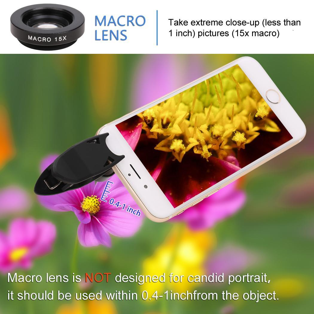 Universal 3 in1 Fisheye Lens Wide Angle Lens Macro Camera Lens Kit Clip On Magnetic Mount with Case for Digital Camera 3