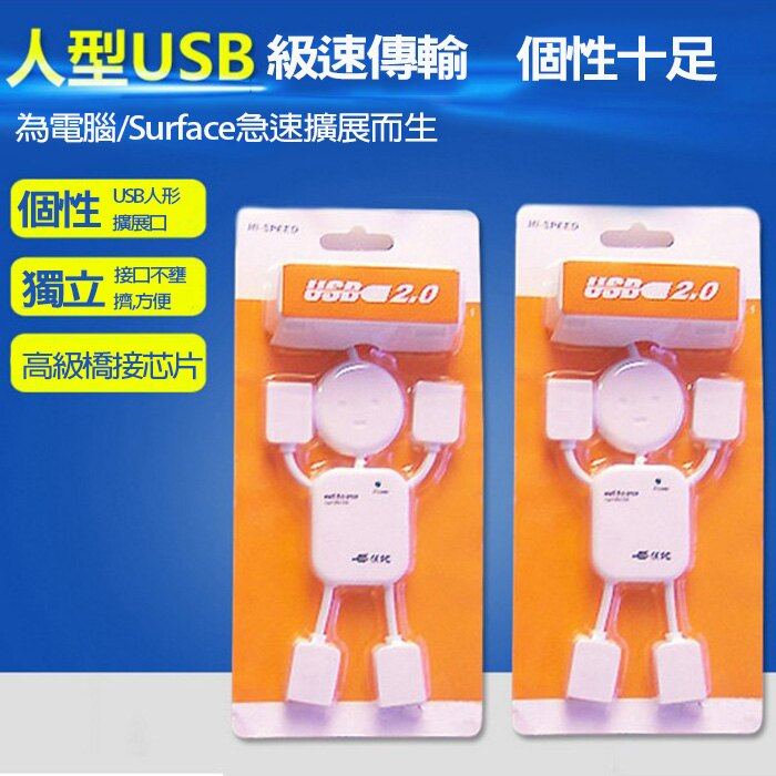糖衣子輕鬆購【DZ0332】USB 2.0 人形分線器 4個USB孔 可愛人形 轉接器 延長線 集線器