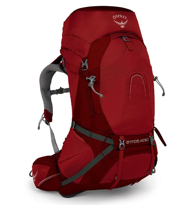 【Osprey 美國】ATMOS AG 50 輕量登山背包 自助旅行 健行背包 網架背包 男款 里格紅〈容量50L〉/AtmosAG50