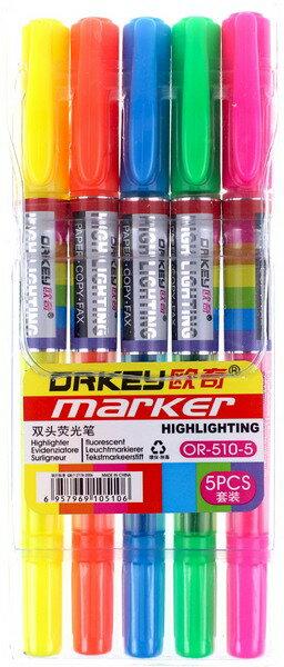 5色入雙頭螢光筆 OR~510~5 歐奇螢光筆組  一袋10小組入 ~ 特39 ~ 雙頭