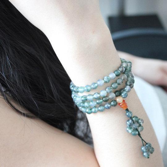 水晶水草瑪瑙108顆佛珠手鏈女多層多圈時尚手飾手串