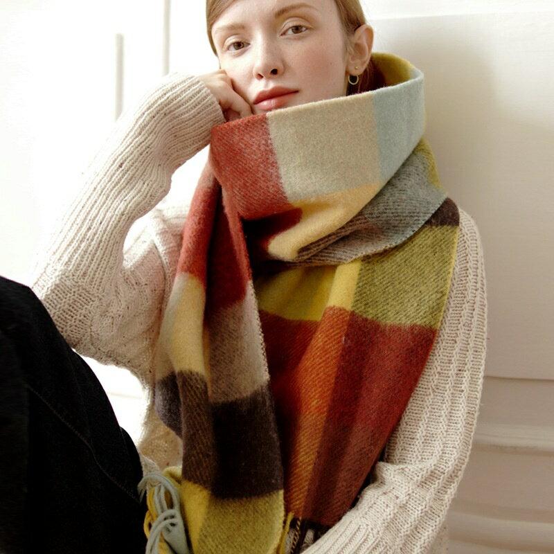 米蘭精品-奇珍館 羊毛披肩長圍巾-加厚蓬鬆彩色格子女配件73wq6【獨家進口】【米蘭精品】