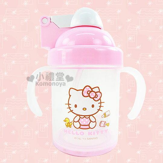 〔小禮堂嬰幼館〕台灣 佳美 Hello Kitty 幼兒吸管學習杯《粉紅.嬰兒用品》彈跳式開口OPEN!