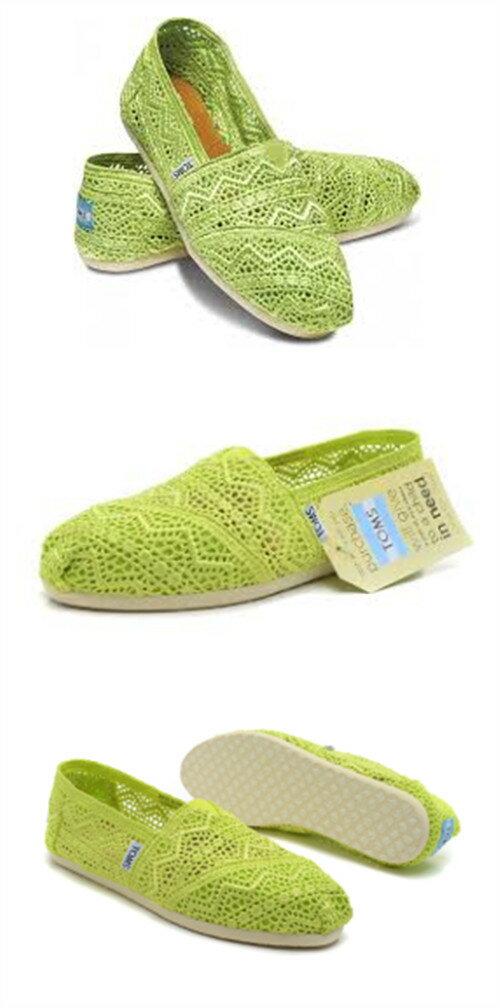 【TOMS】果綠色蕾絲鏤空繡花平底休閒鞋  Neon Lime Crochet Women's Classics 5