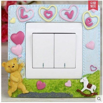 可愛卡通小熊兒童房創意裝飾彩色家居開關貼牆貼插座保護套(圖一)
