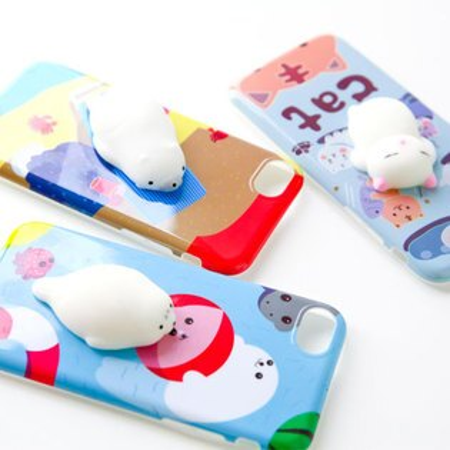 iPhone7I7捏捏軟殼手機殼貓咪北極熊海豹軟殼保護殼矽膠捏捏立體iPhone7plus【B062919】