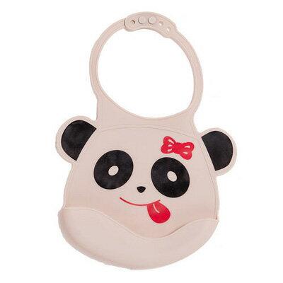 Creative Baby 可收納式攜帶防水無毒矽膠學習圍兜-可愛熊貓【悅兒園婦幼生活館】