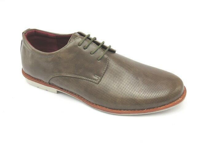 *男皮鞋* 時尚舒適方頭排壓氣墊皮鞋77-505(灰)☆【彩虹屋】☆