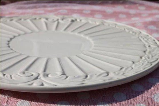 浮雕白色圓形陶瓷蛋糕盤 創意簡約時尚歐式個性現代藝術陶瓷平盤
