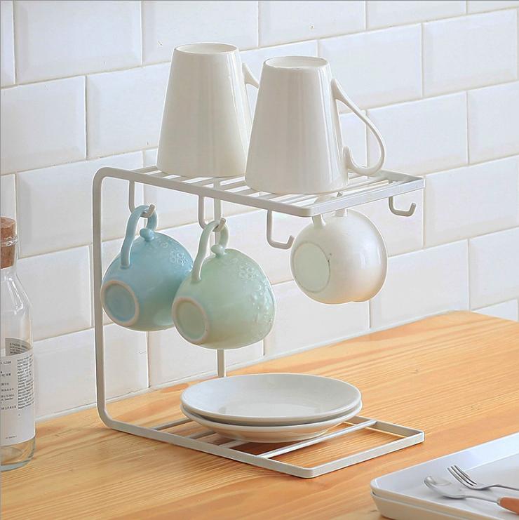  預購  日式 簡約質感鐵製杯盤收納架 杯盤架 2色 極簡美學 質感居家 現貨