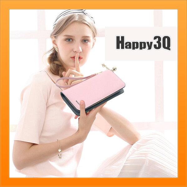 長夾錢包手拿包多分隔卡槽手腕帶大容量可放手機5.5吋素色撞色-多色【AAA3981】