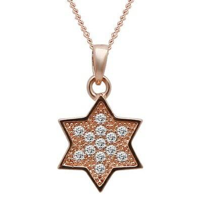 玫瑰金純銀項鍊 鑲鑽吊墜 ~ 大方 星星母親節情人節生日 女飾品73dk232~ ~~米蘭